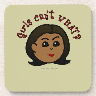 Girls Can't WHAT? Logo Head-Dark Beverage Coasters