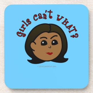 Girls Can't WHAT? Logo Head-Dark Coaster