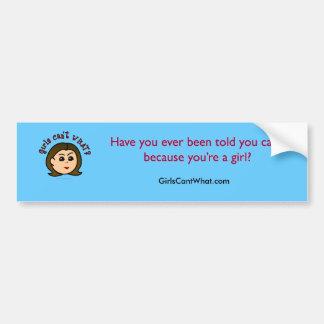 Girls Can't WHAT? Logo Head-Light Bumper Sticker
