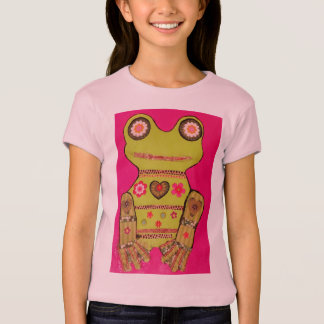 Girls Cap Sleeve T-Shirt with Bright Frog Design