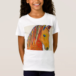 Girls Cap Sleeve T-Shirt with Bright Horse Design