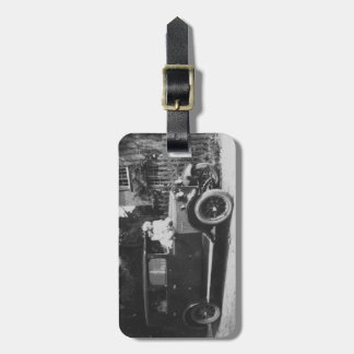 Girls & Car Vintage Image Acrylic Luggage Tag