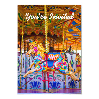 Girls Carousel Birthday Party Invitiation 5x7 Paper Invitation Card