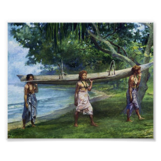 'Girls Carrying a Canoe' - John LaFarge Print