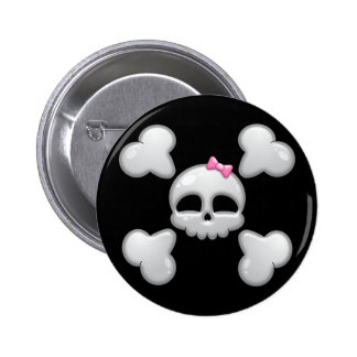 Girls Cartoon Skull with Pink Bow 2 Inch Round Button