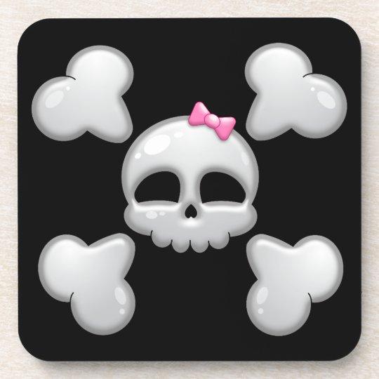 Girls Cartoon Skull with Pink Bow Coaster