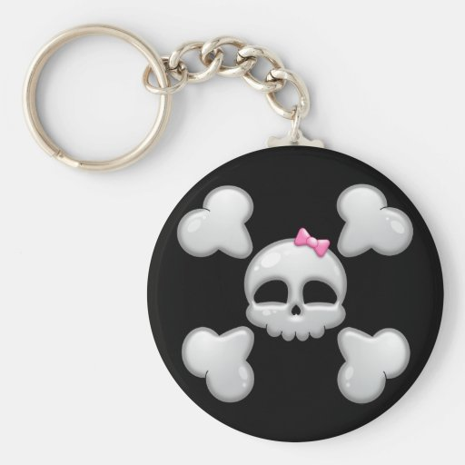 Girls Cartoon Skull with Pink Bow Key Chains