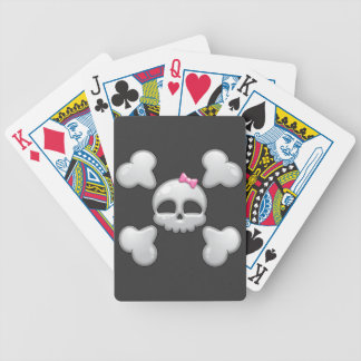 Girls Cartoon Skull with Pink Bow Bicycle Card Decks