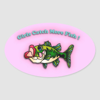 Girls Catch More Fish Oval Sticker