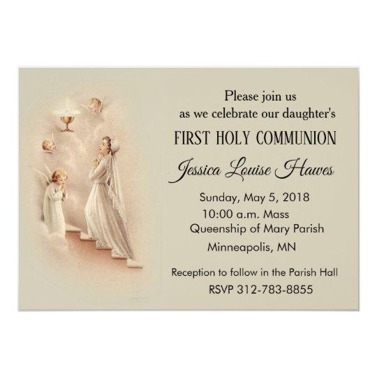 Girl S Catholic First Holy Communion Invitations