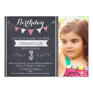 Girls Chalkboard 3rd Birthday Party Invitation