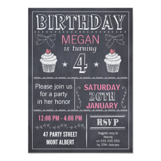 Girls Chalkboard Birthday Party Invitation