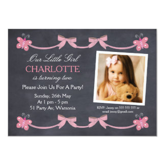 Girls Chalkboard Butterflies Birthday Invitation