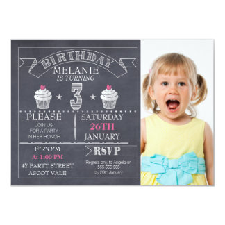 Girls Chalkboard Cupcake 3rd Birthday Invitation