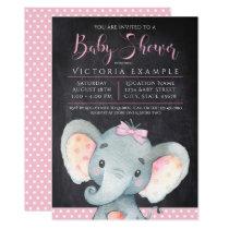 Girls Chalkboard Elephant Baby Shower Invitation