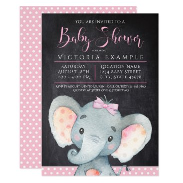 Toddler & Baby themed Girls Chalkboard Elephant Baby Shower Invitation