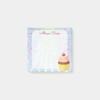 Girls Cherry Chocolate Cupcake Personalized Post-it Notes