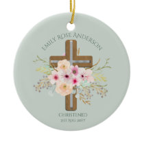 Girls Christening Baptism Floral Cross Customized Ceramic Ornament