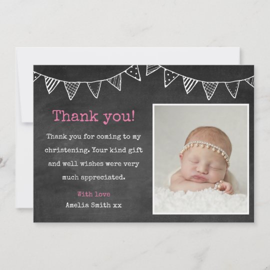 Girls Christening Baptism Thank You Card Zazzle Com