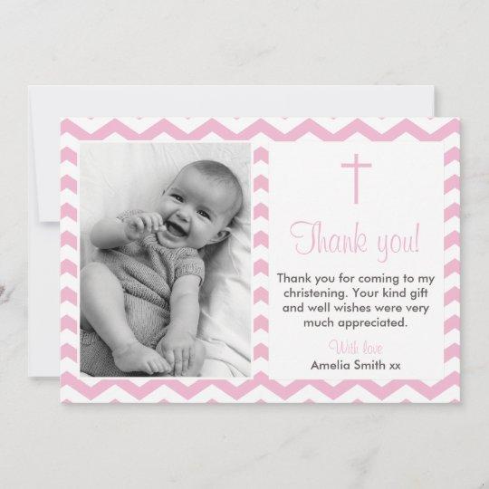 Girls Christening Baptism Thank You Card Zazzle Com