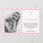 """Girls Christening/Baptism Thank You card<br><div class=""""desc"""">Send your friends and family a special note to thank them for coming to your big day. Boys version also available in this style.</div>"""