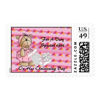 Girls Christening Bear Postage