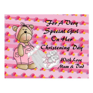 Girls Christening Bear Postcard