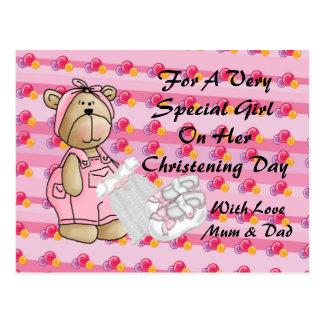 Girls Christening Bear Postcard