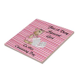 Girls Christening Bear Small Square Tile