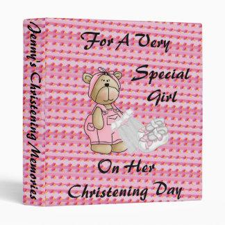 Girls Christening Bear Vinyl Binders