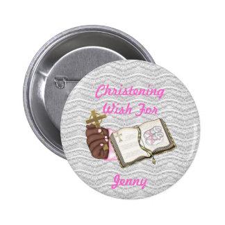 Girls Christening Book 2 Inch Round Button