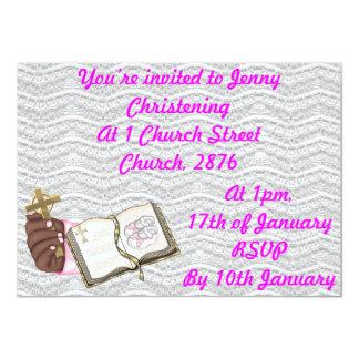 Girls Christening Book 4.5x6.25 Paper Invitation Card