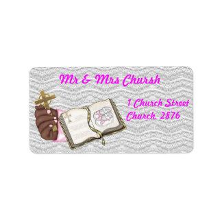 Girls Christening Book Address Label