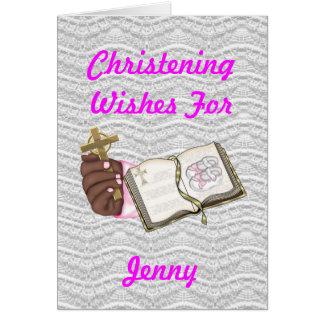 Girls Christening Book Greeting Card