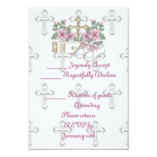 Girls Christening Shoes 3.5x5 Paper Invitation Card