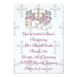 Girls Christening Shoes 5x7 Paper Invitation Card