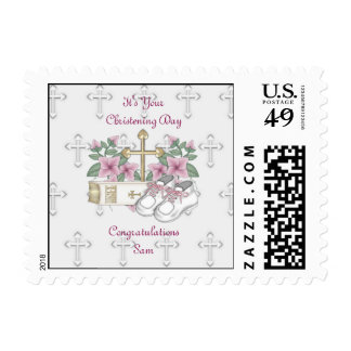 Girls Christening Shoes Postage Stamps