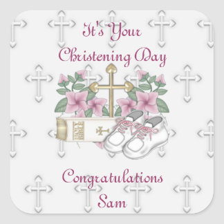 Girls Christening Shoes Square Sticker