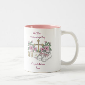 Girls Christening Shoes Two-Tone Coffee Mug