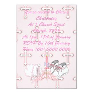 Girls Christening Wish 5x7 Paper Invitation Card