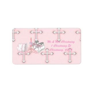 Girls Christening Wish Address Label