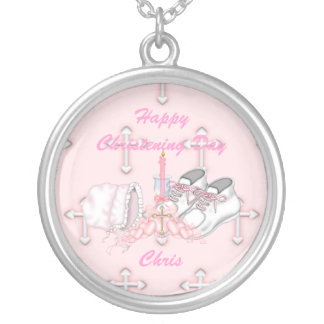 Girls Christening Wish Round Pendant Necklace