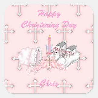 Girls Christening Wish Square Sticker