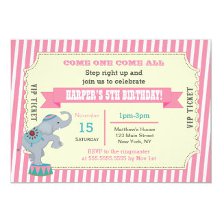 Girls Circus Carnival Ticket Birthday Invitations