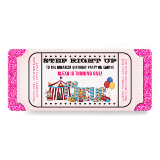 Girls Circus Ticket Birthday Party 4x9.25 Paper Invitation Card