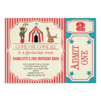 Circus birthday invitations announcements zazzle girls circus ticket birthday party invitation stopboris Image collections