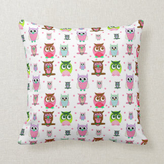 Girl's Colorful Cartoon Owls Throw Pillow