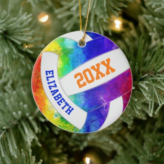 girls colorful rainbow keepsake volleyball ceramic ornament