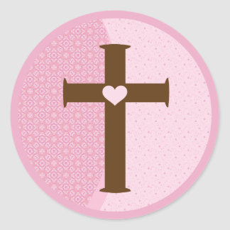Girls Communion Cross Classic Round Sticker