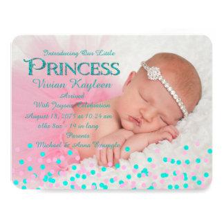 Girls Confetti Birth Announcements